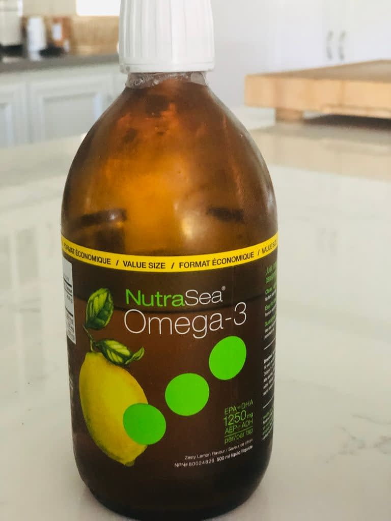 We add a teaspoon each of fish oil daily to our smoothie