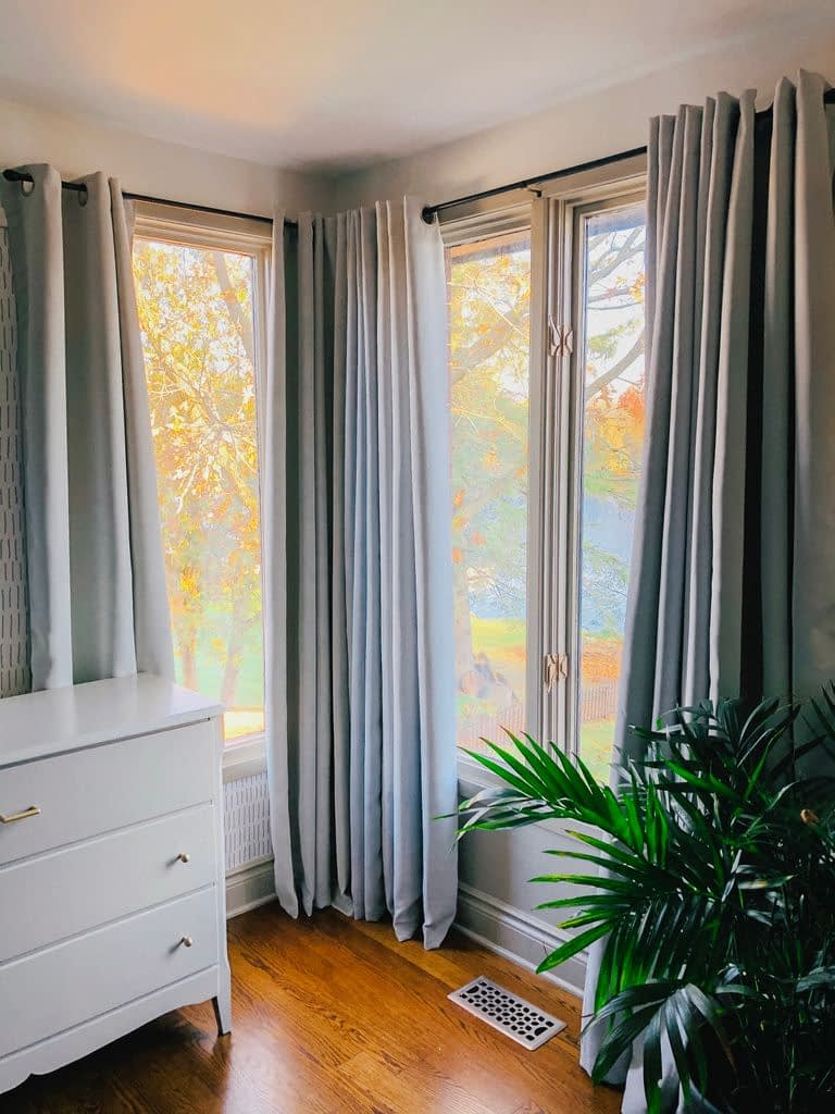 Our Giant Tiger black-out drapes work perfectly in this room.