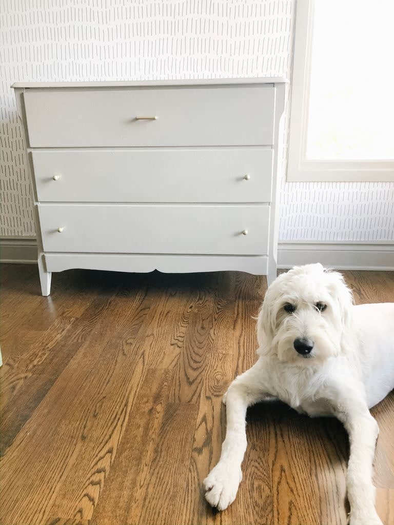 Our dressers are really old but they do the job needed.  So I painted them both in the same FB Hardwick White as the trim and walls.
