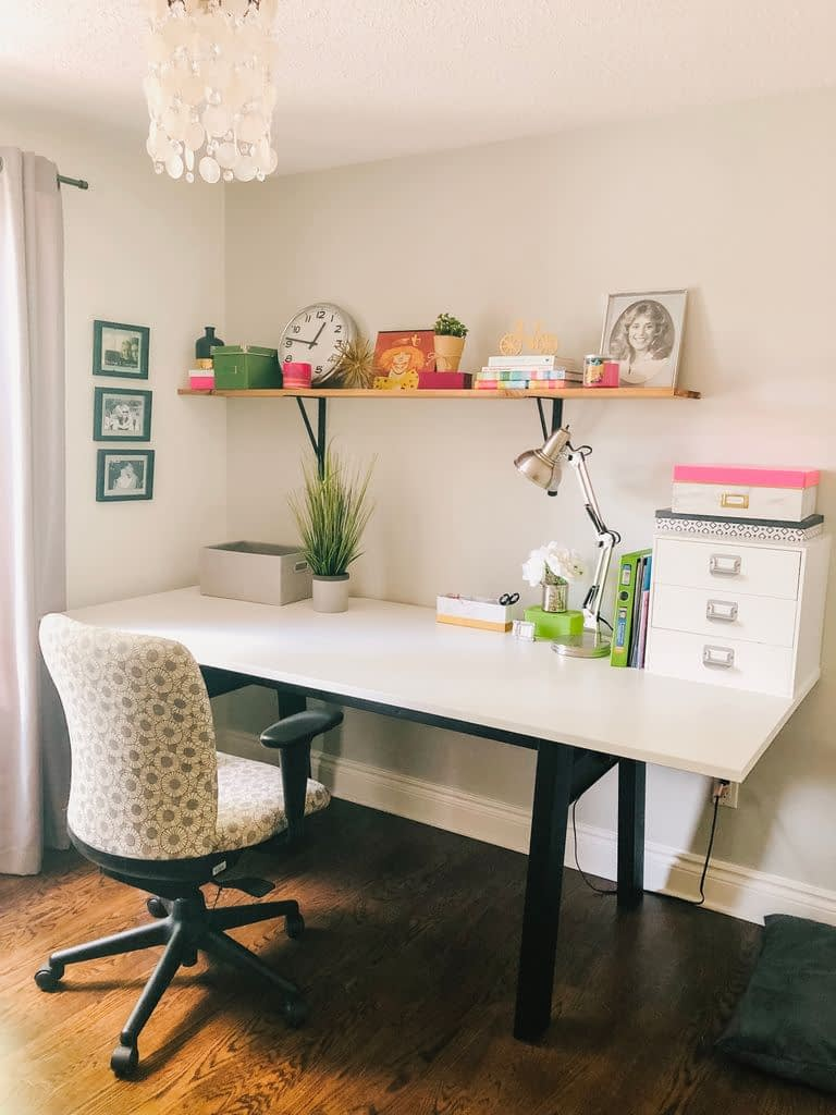 I just love working in my girly office.  It's a space all of my own.