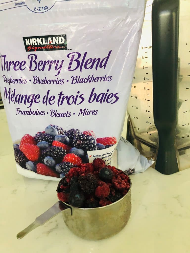 Three Berry Blend from Costco is a reasonably priced source of frozen berries for our smoothie