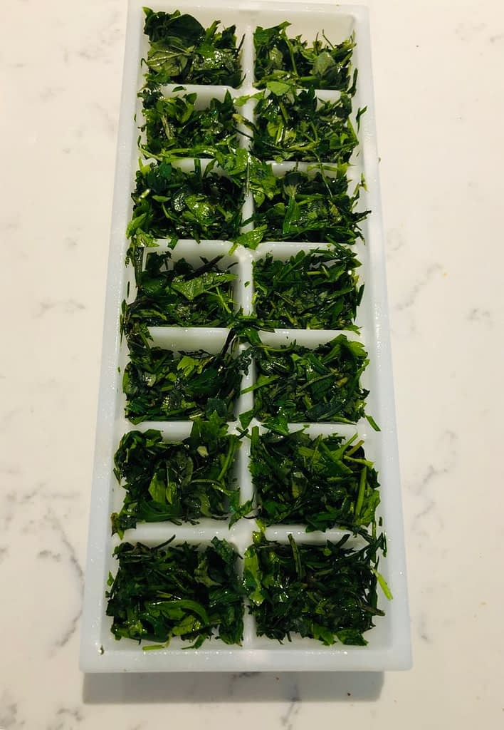 Herb combinations in ice cube trays