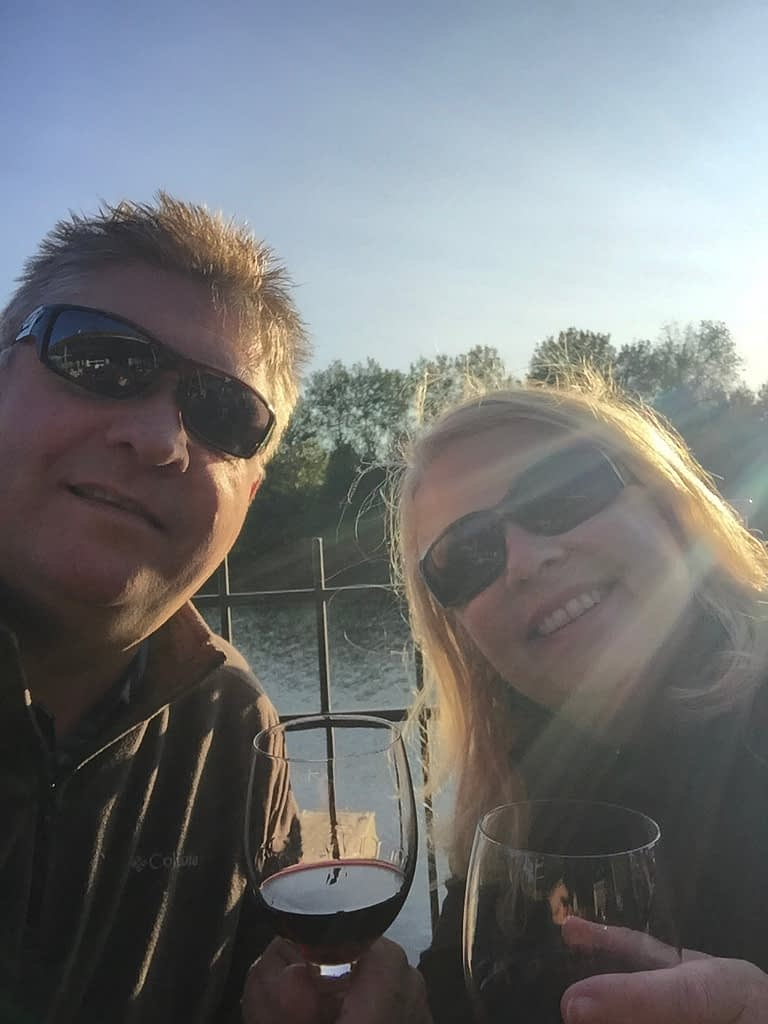This is the first grainy selfie Geraint and I took as empty nesters.  We left the house and went by boat for dinner for two at a nearby restaurant.