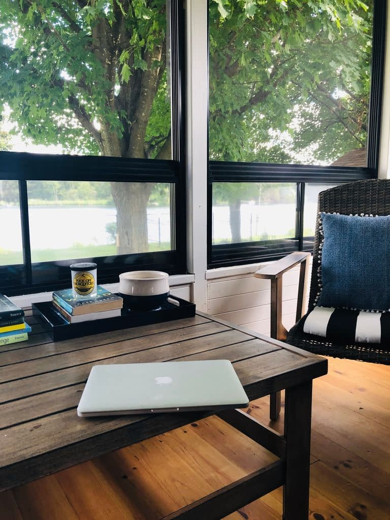 It's a treat to work in the screened-in porch, but its just not practical long-term