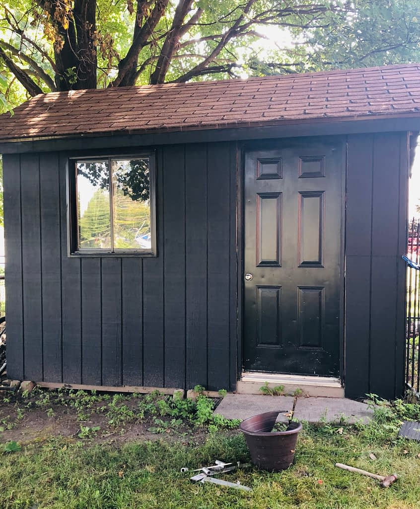 This was the first step, painting the shed black.