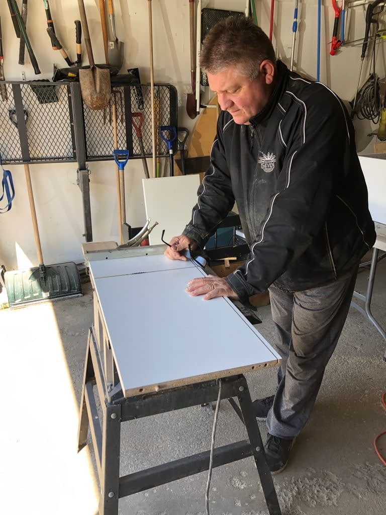 Cutting the cabinet for the laundry room refresh down to size. ORC
