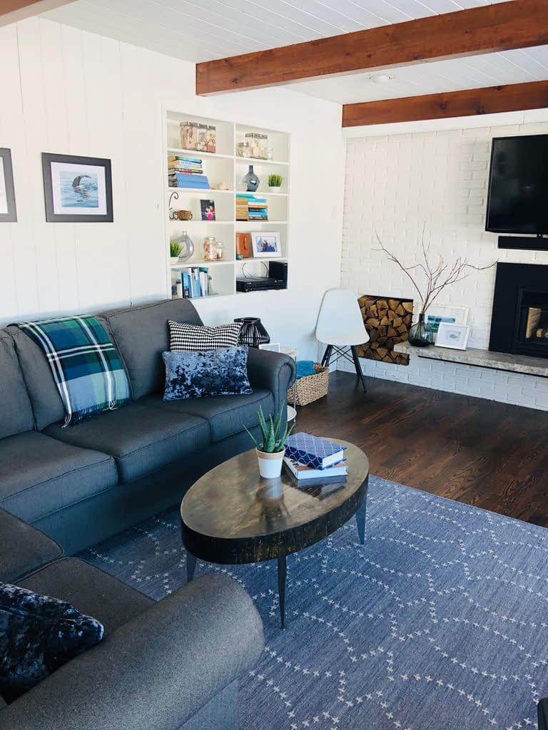 Our family room is comfortable, durable and reflects our family