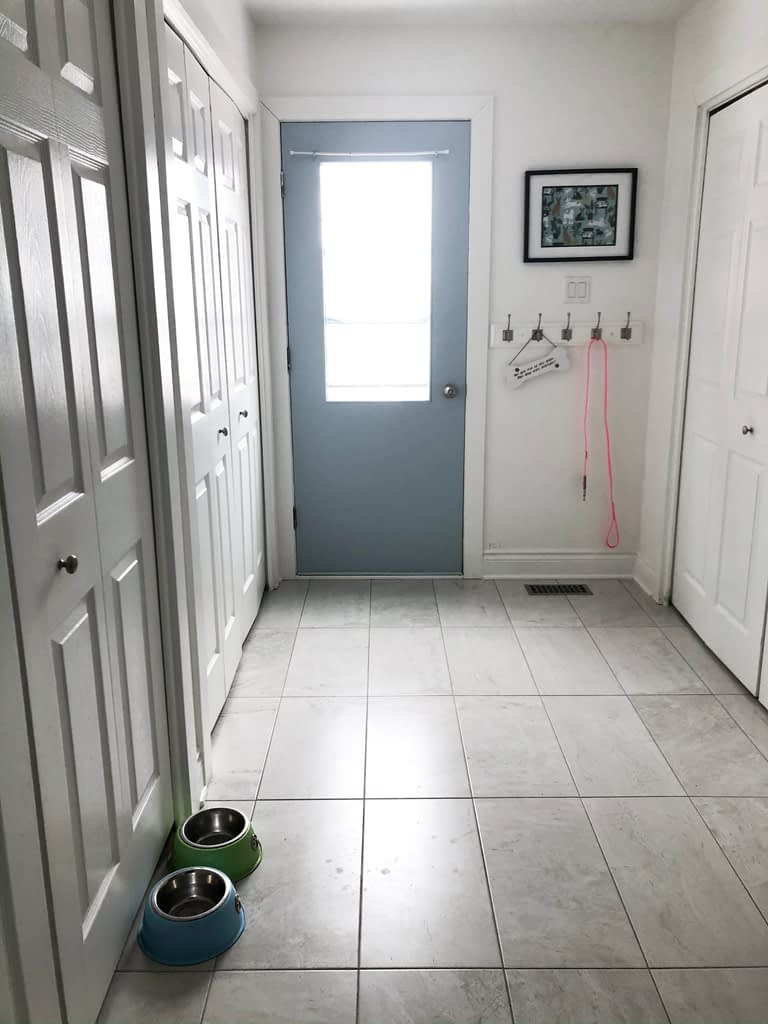 This is the only tile we have on our first floor to help with flow.  This blue door at the end of the long hallway to Lola's is a nice surprise for the eye.