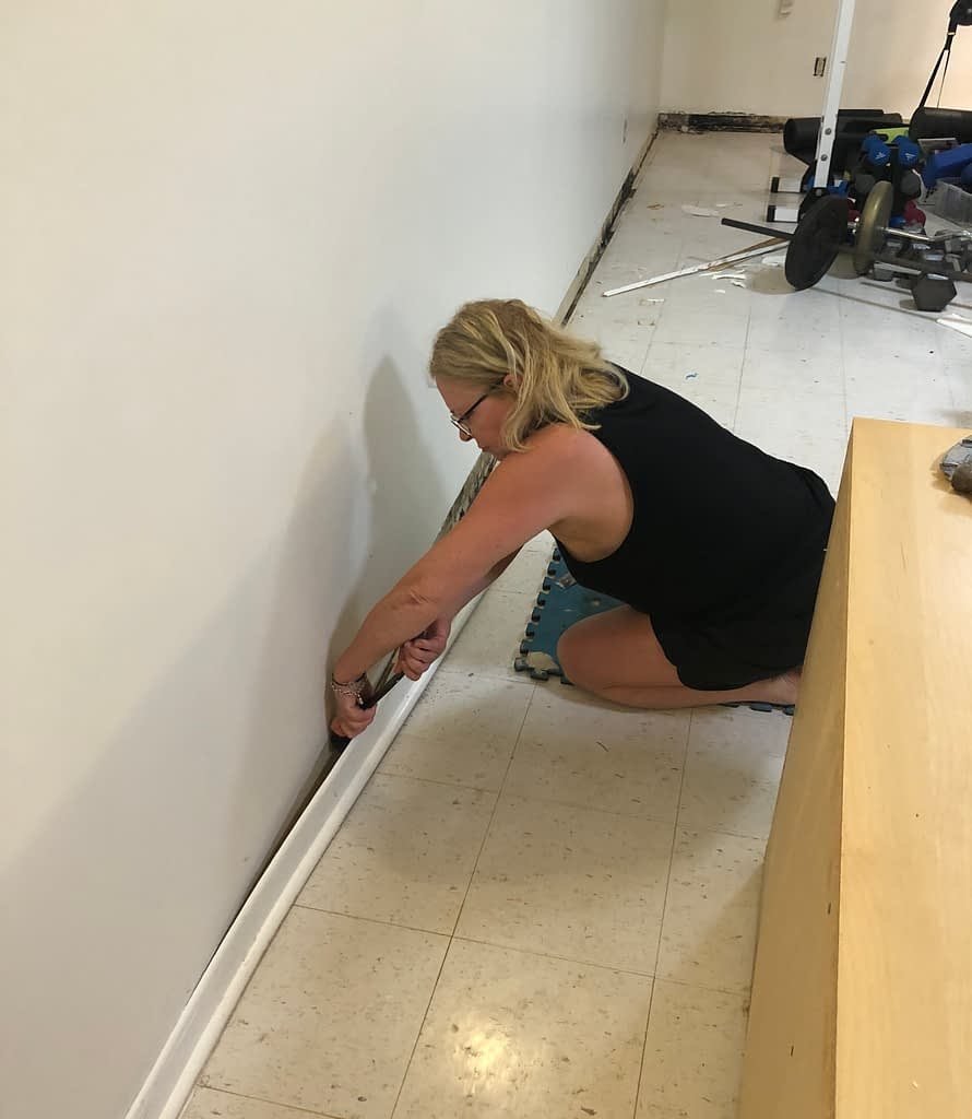 This is me with a crow bar pulling up baseboards like a boss.