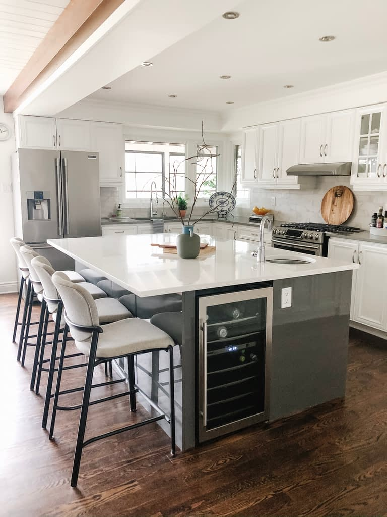 This outlet on the iIkea kitchen sland was one of our best decisions.  Our small appliance storage is directly across so that is where blenders etc are plugged in.