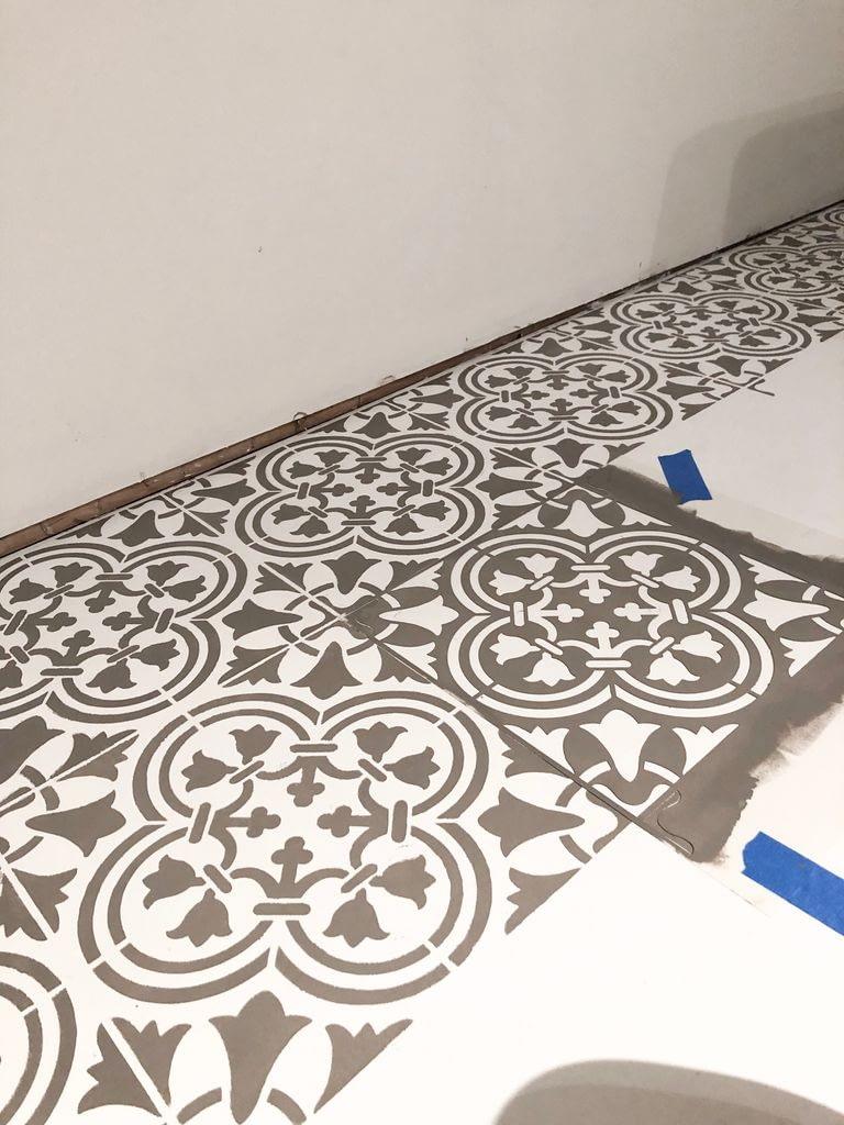 Good progress on stencilling the laundry room floor