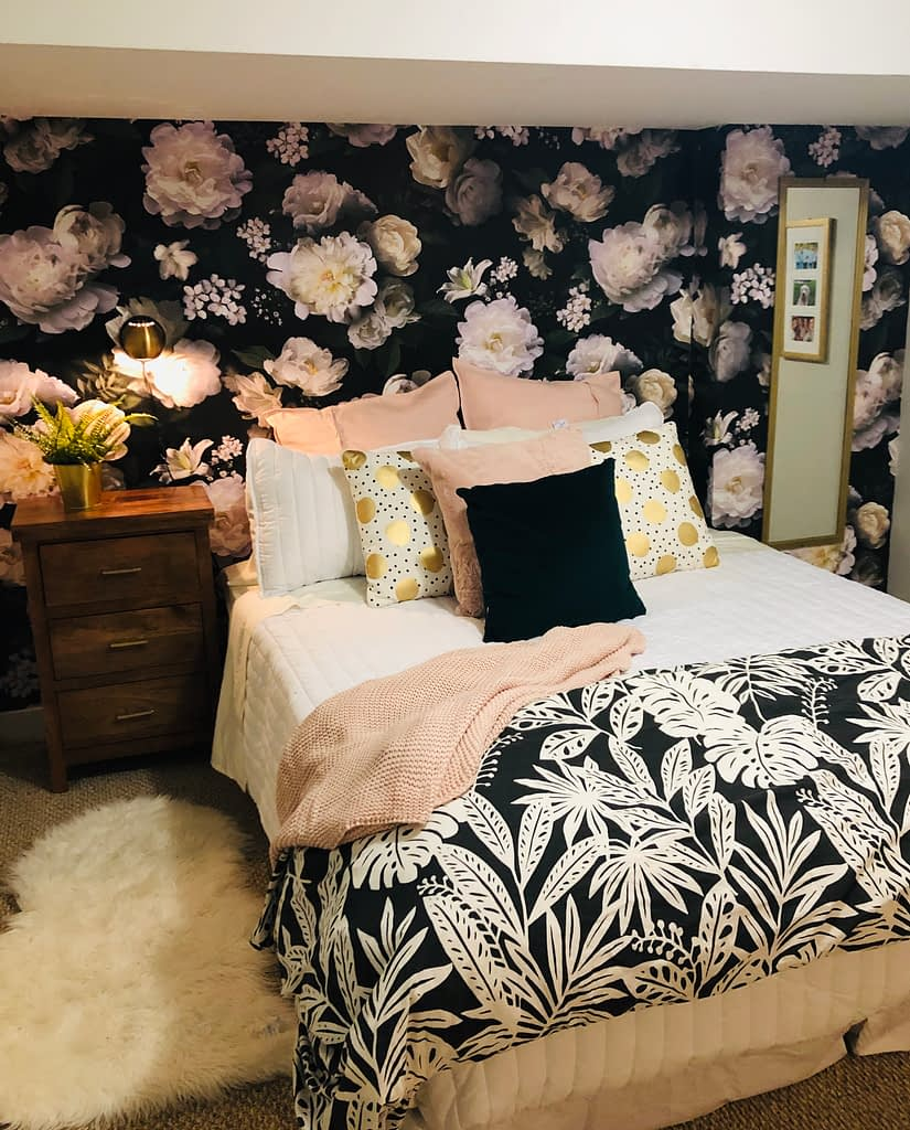 The wallpaper changes everything. A few accent pieces and Mackenzie has a new room as part of the bedroom makeover.