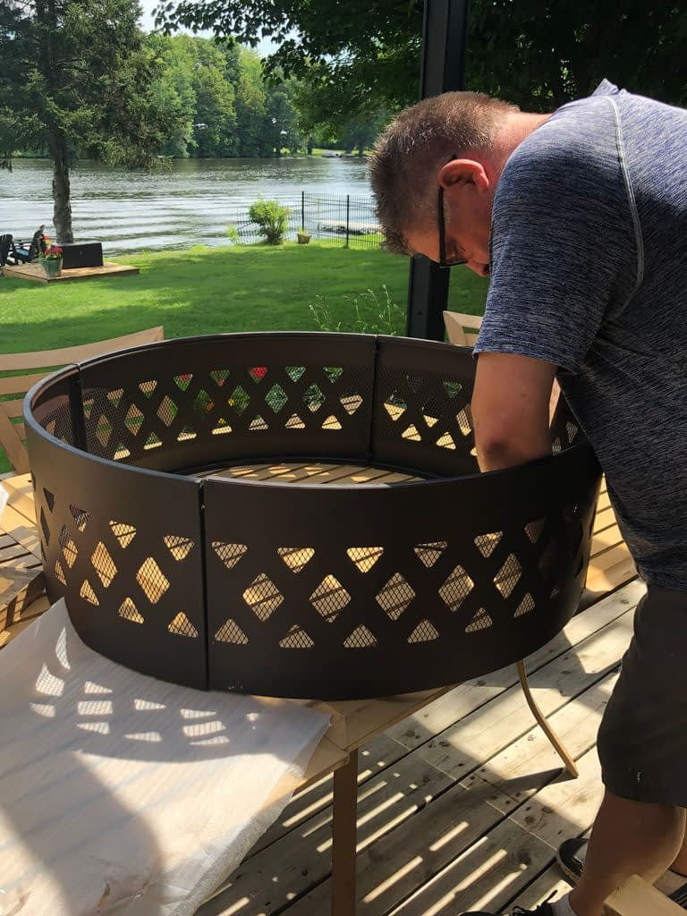 Ger assembling the fire pit