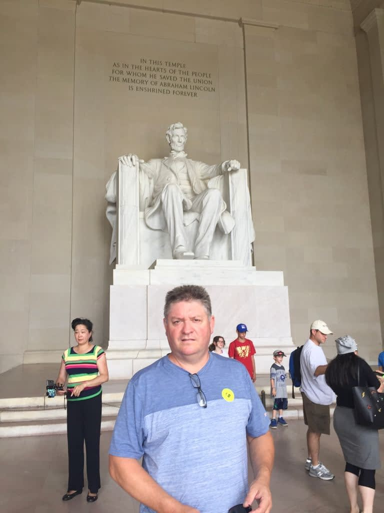 We should have been happy being tourists in Washington D.C. but Geraint's face shows sadness
