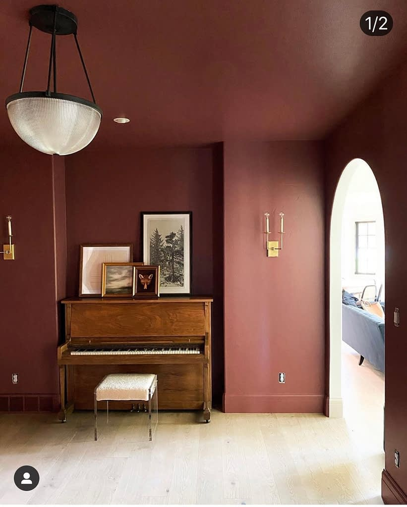 My dip in the waters of moody colours was a mere dip.  @chrislovesjulia recently debuted their music room in this lovely burgundy that is so on trend 📷@chrislovesjulia