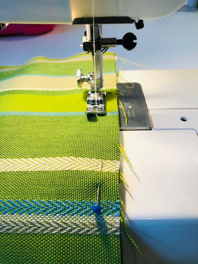Once you have all the pieces pinned together you do one big seam around the circumference of the pillow.