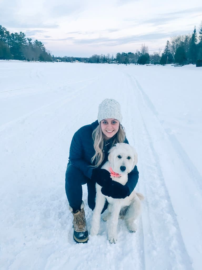 Mackenzie Enjoying the Frozen River with Lola