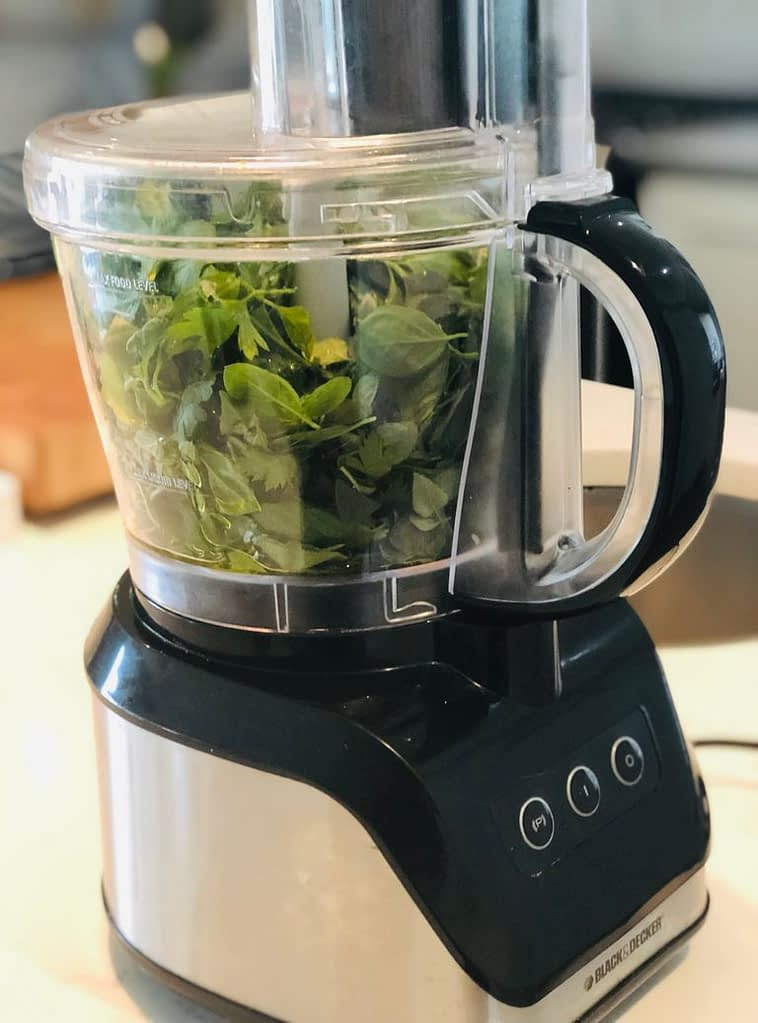 I used the food processor to lightly chop but not puree the herbs.