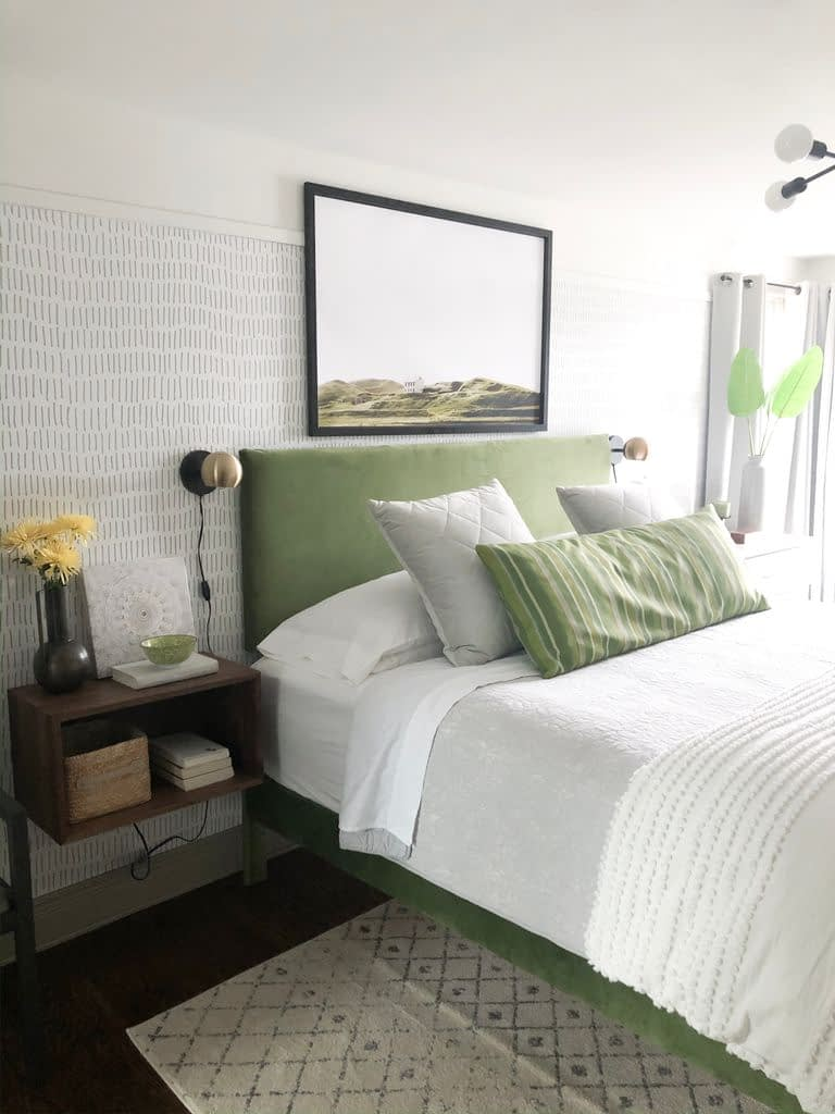 This peel and stick tick mark wall paper from  roommates decor.com gives such a beautiful soft feeling  to the the master bedroom.