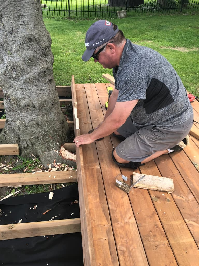 Fitting the deck boards around the tree