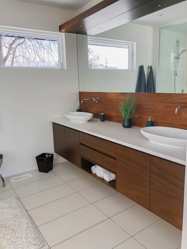 The couple took what was formerly two bedrooms and made a master ensuite and closet.