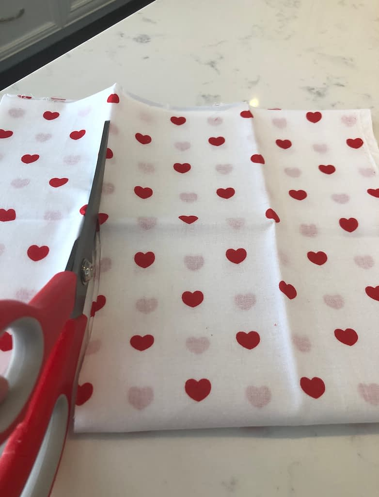 This red and white heart quilting fabric was perfect for the Valentine's themed garland.